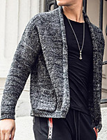 cheap -Men's Daily Casual Solid Color V Neck Sweater Cardigan,Long Sleeve Spring Fall Rayon