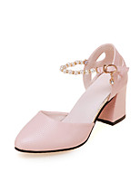 cheap -Women's Shoes PU Spring Comfort Heels Chunky Heel Pointed Toe Pearl for Casual Pink White