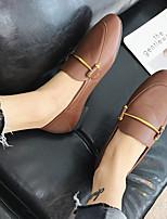 baratos -Mulheres Sapatos Couro Ecológico Primavera Outono Conforto Rasos Salto Baixo Dedo Fechado para Casual Ao ar livre Preto Bege Marron