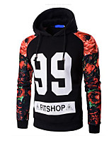 cheap -Men's Plus Size Going out Casual Hoodie Print Hooded Hoodies Micro-elastic Polyester Long Sleeve Winter Fall