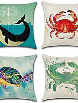 cheap -4 pcs Cotton/Linen Pillow Cover,Animal Print Bohemian Style Retro