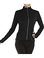 cheap -Figure Skating Top Women's Girls' Ice Skating Top Black Spandex Stretchy Performance Practise Skating Wear Solid Long Sleeves Ice Skating