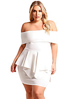 cheap -Women's Party Sexy Bodycon Knee-length Dress,Solid Boat Neck Half Sleeve Summer High Waist