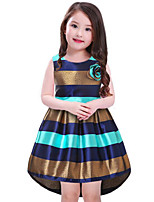 cheap -Girl's Daily Striped Color Block Dress,Cotton Rayon Spring Summer Sleeveless Vintage Casual Fuchsia Blue