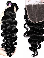cheap -Brazilian Loose Wave Human Hair Weaves 4pcs 0.3