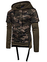 cheap -Men's Petite Daily Going out Vintage Casual Hoodie Camouflage Hooded Hoodies Micro-elastic Polyester Long Sleeve Winter Fall