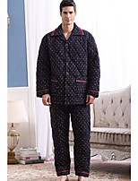 abordables -Costumes Pyjamas Homme,Fleur Epais Polyester Bleu Marine