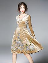 economico -Linea A Fodero Vestito Da donna-Feste Per uscire Vintage Fantasia floreale A V Al ginocchio Maniche lunghe Velluto Inverno Autunno Vita