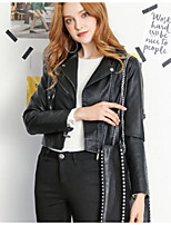 cheap -Women's Going out Street chic Winter Fall Leather Jacket,Solid Peter Pan Collar Long Sleeve Short Polyester
