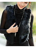 cheap -Women's Going out Street chic Winter Fall Vest,Solid V Neck Sleeveless Short Polyester