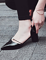 cheap -Women's Shoes PU Winter Fall Comfort Heels Chunky Heel Closed Toe for Casual Outdoor Black Silver Almond