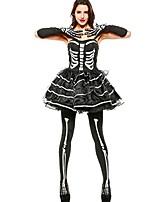 Недорогие -Скелет / Череп Ангел и черт Женский Фестиваль / праздник Костюмы на Хэллоуин Черный Пэчворк Черепа