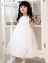 cheap -Girl's Daily Embroidery Dress,Polyester Summer Sleeveless Casual Princess Blushing Pink White