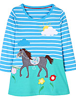 cheap -Girl's Daily Holiday Striped Patchwork Dress,Cotton All Season Long Sleeve Cute Casual Blue