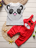 cheap -Girls' Daily Solid Clothing Set,Cotton Spring Summer ½ Length Sleeve Casual Red Blue