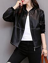 Недорогие -Для женщин Повседневные Зима Осень Кожаные куртки Круглый вырез,На каждый день Однотонный Обычная Длинные рукава,Полиуретановая,