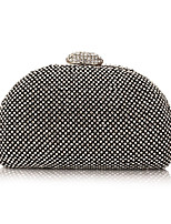 cheap -Women's Bags Polyester Evening Bag Crystal Detailing for Wedding Event/Party All Season Silver Black Gold