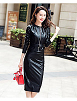 cheap -Women's Going out Street chic Winter Fall Blazer Skirt Suits,Solid Round Neck Long Sleeve Pure Color PU Micro-elastic
