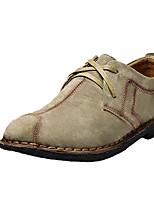 Недорогие -Муж. обувь Наппа Leather Весна Осень Удобная обувь Туфли на шнуровке для на открытом воздухе Темно-синий Темно-серый Хаки