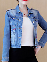 cheap -Women's Daily Casual Winter Denim Jacket,Solid V Neck Long Sleeve Long Cotton Acrylic Oversized