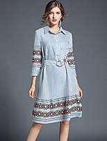 cheap -Women's Daily Casual Shirt,Striped Shirt Collar ¾ Sleeve Cotton