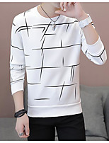 cheap -Men's Daily Going out Sweatshirt Print Round Neck Micro-elastic Polyester Long Sleeve Winter Spring/Fall