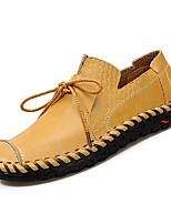 baratos -Homens sapatos Pele Napa Primavera Outono Conforto Mocassins e Slip-Ons para Preto Amarelo Marron