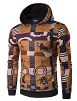 cheap -Men's Petite Daily Casual Hoodie Striped Print Hooded Hoodies Micro-elastic Polyester Long Sleeve Fall