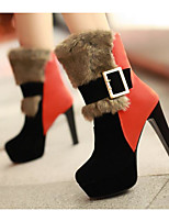 Недорогие -Жен. Обувь Полиуретан Зима Осень Удобная обувь Модная обувь Ботинки Высокий каблук Ботинки для Повседневные Черный Оранжевый Зеленый