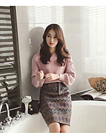 cheap -Women's Going out Casual Fall Sweater Skirt Suits,Print Round Neck Long Sleeve Pure Color Cotton Polyester Micro-elastic