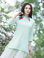 cheap -Women's Casual/Daily Chinoiserie Shirt,Embroidery Stand Long Sleeves Cotton