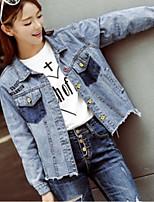 cheap -Women's Denim Jacket - Solid, Oversized V Neck