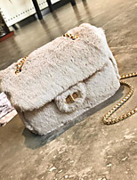 cheap -Women Bags Fur Shoulder Bag Buttons for Casual All Season Khaki Gray Blushing Pink Red Black