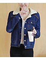 cheap -Women's Daily Vintage Winter Denim Jacket,Solid Round Neck Short Sleeve Regular Cotton Acrylic Pleated