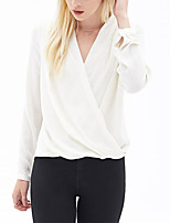 cheap -Women's Daily Holiday Casual Street chic Spring Fall Blouse,Solid V Neck Long Sleeve Polyester