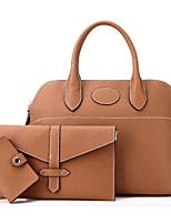 cheap -Women Bags PU Bag Set 3 Pcs Purse Set Zipper for Casual Outdoor Winter Fall Light Grey Brown Blushing Pink Black