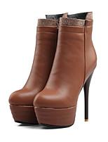 Недорогие -Для женщин Обувь Полиуретан Зима Осень Удобная обувь Оригинальная обувь Модная обувь Ботинки На шпильке Заостренный носок Ботинки Сапоги