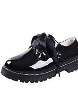 preiswerte -Damen Schuhe PU Frühling Sommer Komfort Outdoor Flacher Absatz Runde Zehe für Normal Schwarz