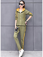 cheap -Women's Casual/Daily Simple Fall Hoodie Pant Suits,Color Block Round Neck Long Sleeves Cotton Polyester