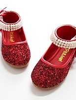 cheap -Girls' Shoes Paillette Spring Fall Flower Girl Shoes Ballerina Flats Imitation Pearl Magic Tape for Party & Evening Dress Silver Black/Red