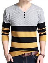 cheap -Men's Daily Work Casual Striped V Neck Sweater Pullover, Long Sleeves Winter Spring Cotton Acrylic Polyester