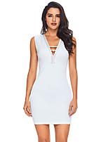 preiswerte -Bodycon Kleid-Alltag Festtage Sexy Einfarbig V-Ausschnitt Mini Ärmellos Polyester Elastan Sommer Hohe Taillenlinie Mikro-elastisch