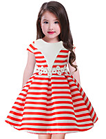 cheap -Girl's Daily Striped Color Block Dress,Cotton Rayon Spring Summer Sleeveless Vintage Cute Casual Yellow Navy Blue Red