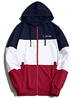 cheap -Men's Plus Size Daily Casual Hoodie Patchwork Hooded Hoodies Without Lining Micro-elastic Cotton Polyester Long Sleeve Spring/Fall