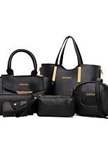 cheap -Women's Bags PU Bag Set 6 Pieces Purse Set Sequins for Casual Office & Career All Seasons Fuchsia Yellow Purple Black White