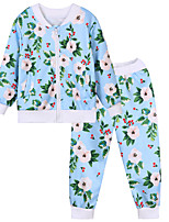 cheap -Unisex Daily Sports Floral Clothing Set, Cotton Spring Fall Long Sleeves Simple Casual Blue