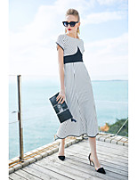 cheap -ZIYI Women's Daily Simple Trumpet/Mermaid DressStriped Round Neck Midi Short Sleeve Cotton Spring Summer Mid Waist Inelastic Opaque