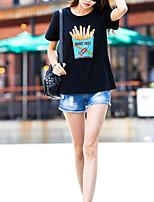preiswerte -Damen Druck Freizeit Alltag T-shirt,Rundhalsausschnitt Sommer Kurze Ärmel Baumwolle Undurchsichtig