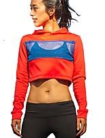 preiswerte -Damen Laufshirt Langarm Atmungsaktivität Kapuzenshirt Sweatshirt Oberteile für Laufen Baumwolle Polyester Nylon Rot S M L