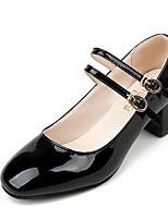 cheap -Women's Shoes PU Spring Fall Comfort Heels Chunky Heel for Casual Wine Black
